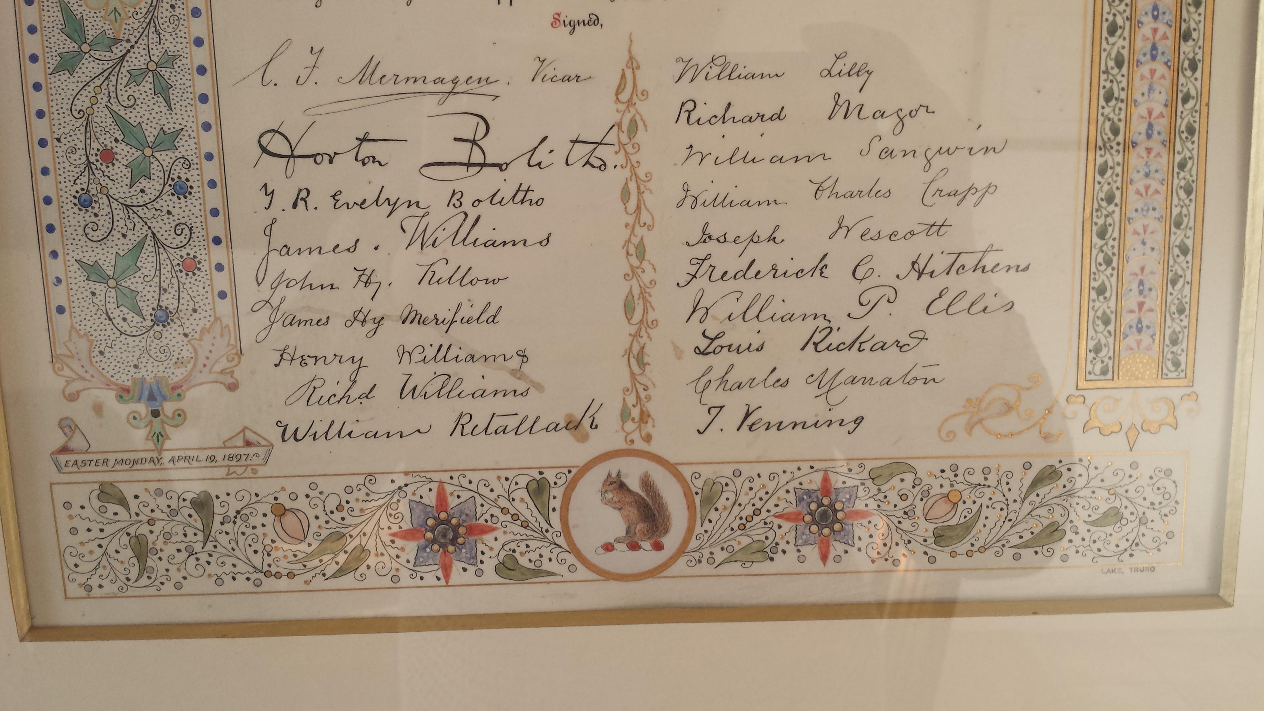 Signatures of parishioners
