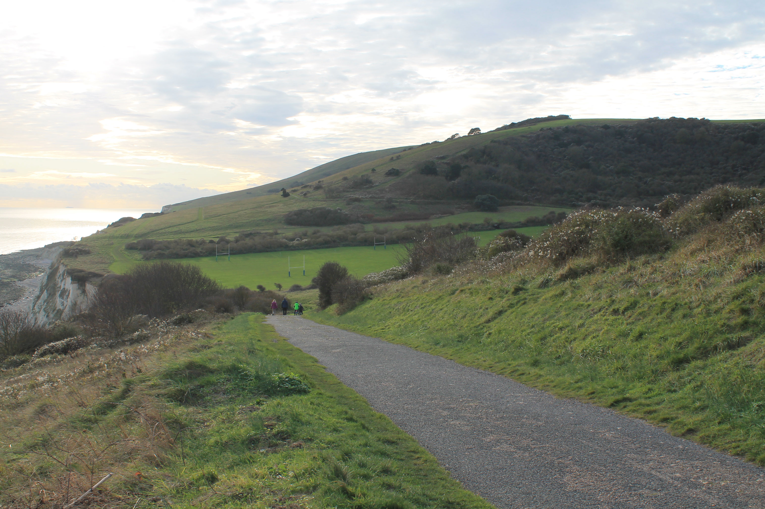 Whitbread Hollow from the east with cliff edge