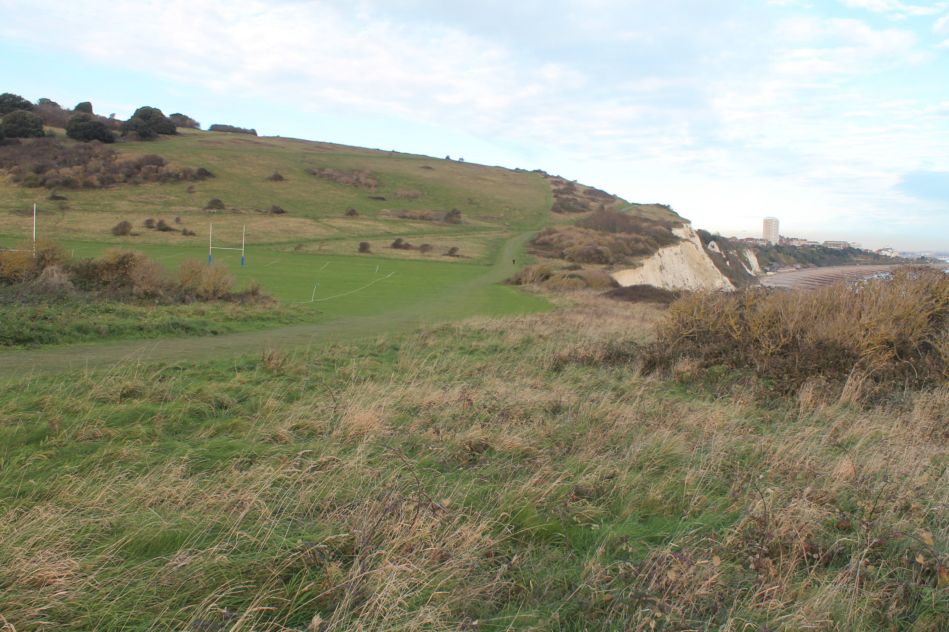 Whitbread Hollow from the west with cliff edge